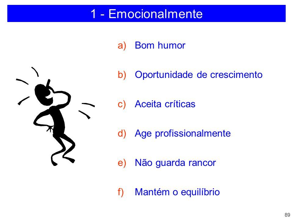 1 - Emocionalmente Bom humor Oportunidade de crescimento