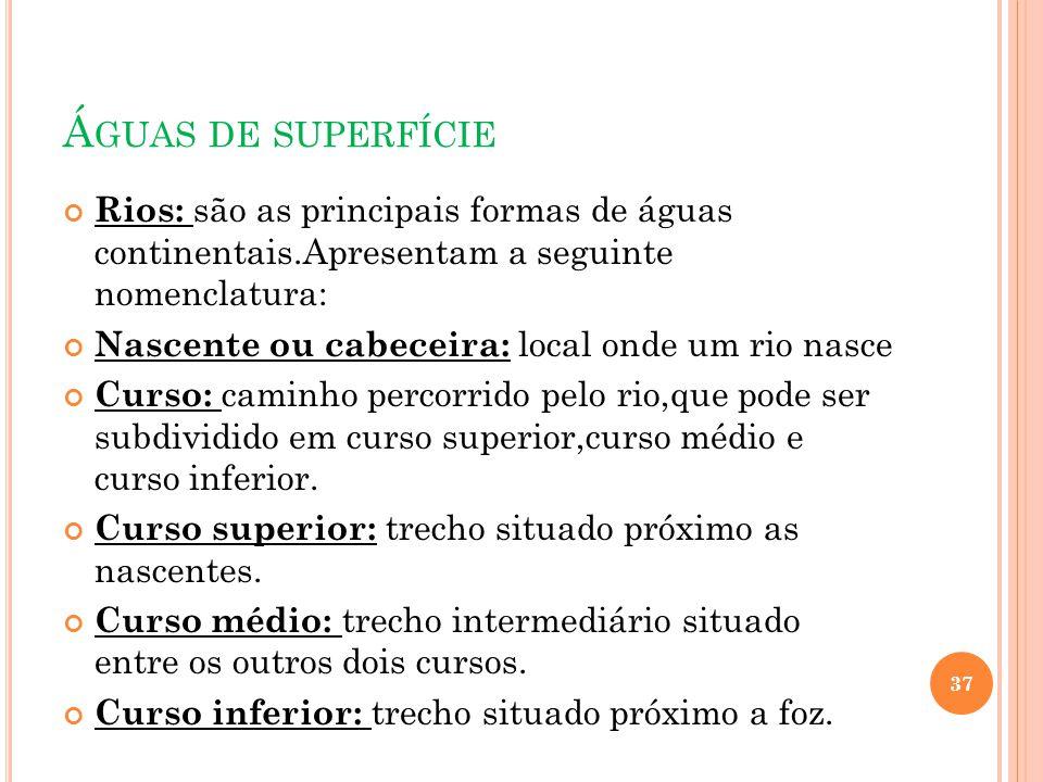 Águas de superfície Rios: são as principais formas de águas continentais.Apresentam a seguinte nomenclatura: