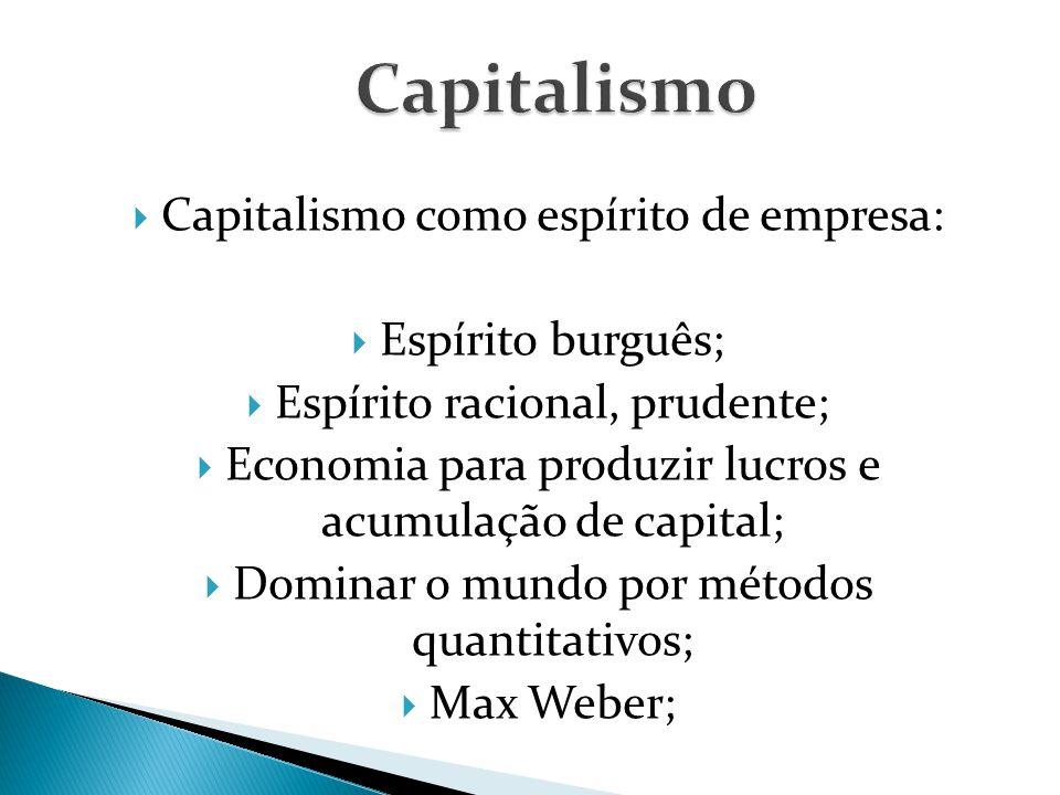 Capitalismo Capitalismo como espírito de empresa: Espírito burguês;