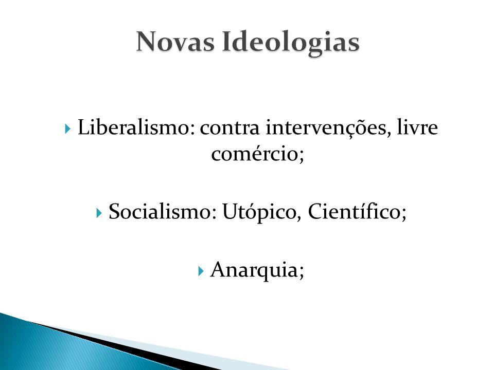 Novas Ideologias Liberalismo: contra intervenções, livre comércio;
