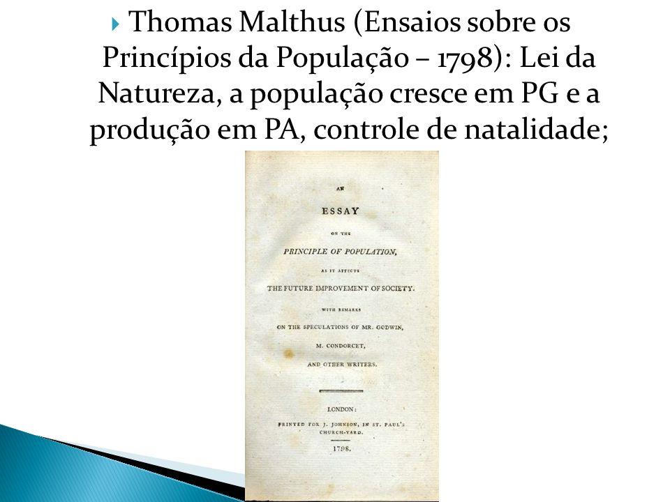 Thomas Malthus (Ensaios sobre os Princípios da População – 1798): Lei da Natureza, a população cresce em PG e a produção em PA, controle de natalidade;