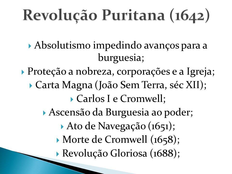 Revolução Puritana (1642) Absolutismo impedindo avanços para a burguesia; Proteção a nobreza, corporações e a Igreja;