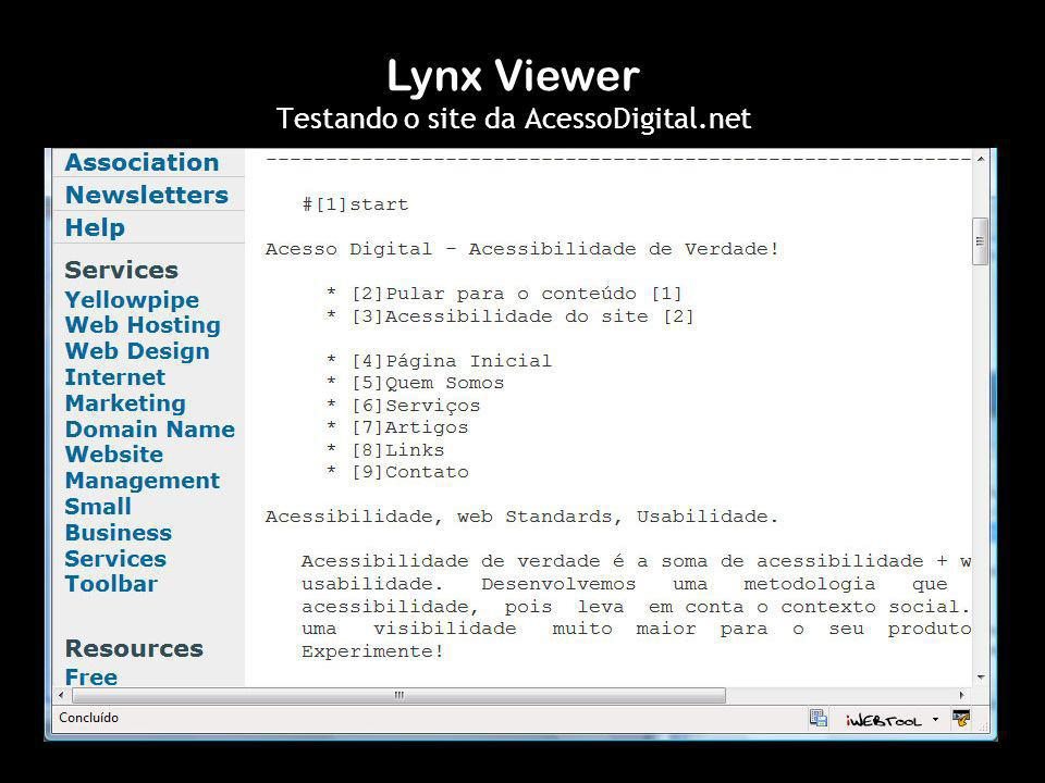 Lynx Viewer Testando o site da AcessoDigital.net