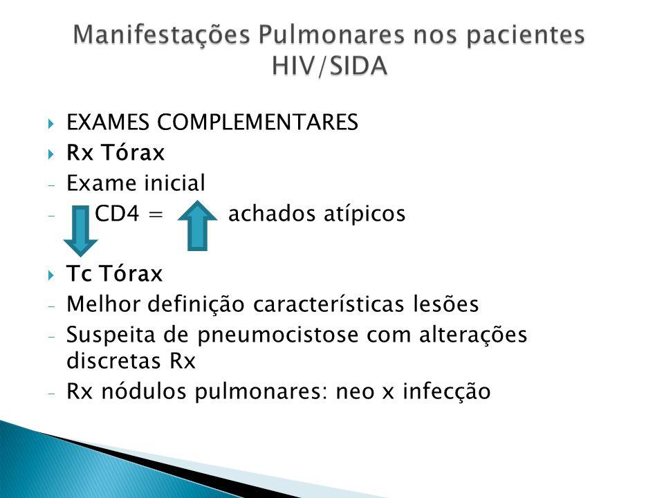 EXAMES COMPLEMENTARES Rx Tórax Exame inicial CD4 = achados atípicos