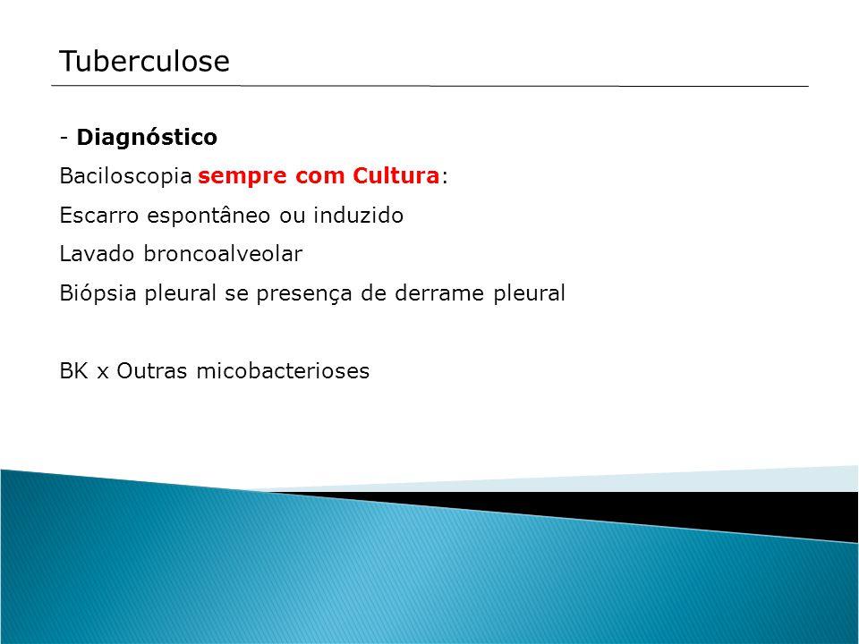 Tuberculose Diagnóstico Baciloscopia sempre com Cultura: