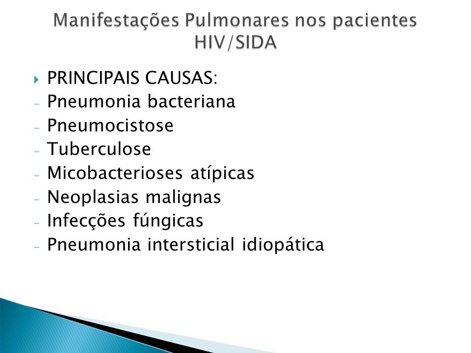 PRINCIPAIS CAUSAS: Pneumonia bacteriana. Pneumocistose. Tuberculose. Micobacterioses atípicas. Neoplasias malignas.