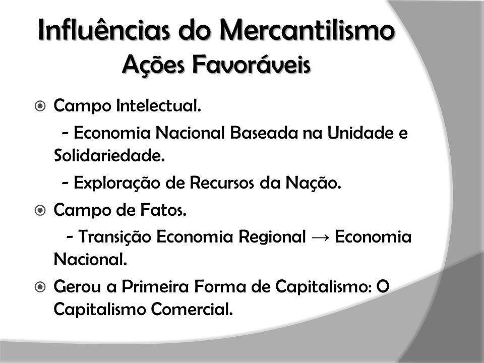 Influências do Mercantilismo Ações Favoráveis