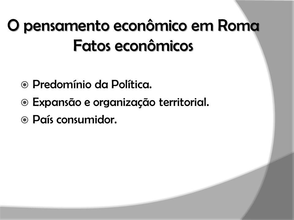 O pensamento econômico em Roma Fatos econômicos