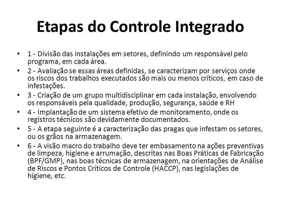 Etapas do Controle Integrado