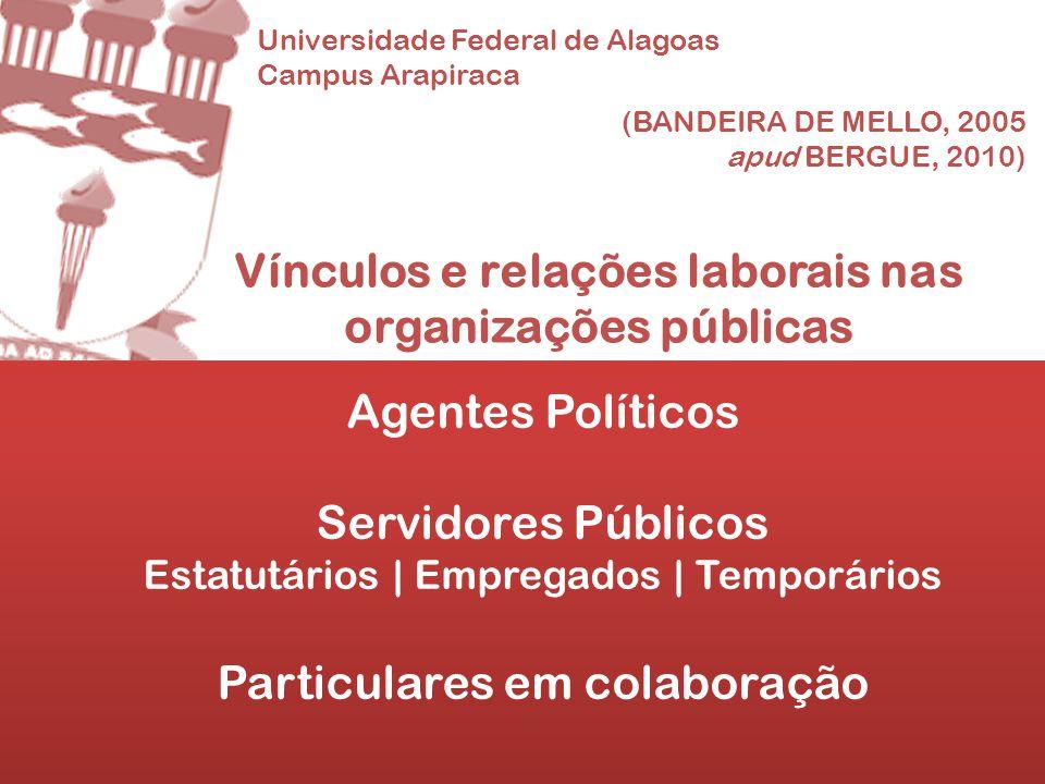 Vínculos e relações laborais nas organizações públicas