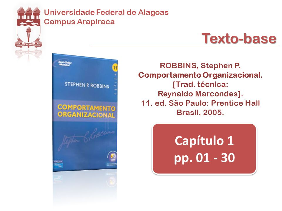 Texto-base Capítulo 1 pp. 01 - 30 Universidade Federal de Alagoas