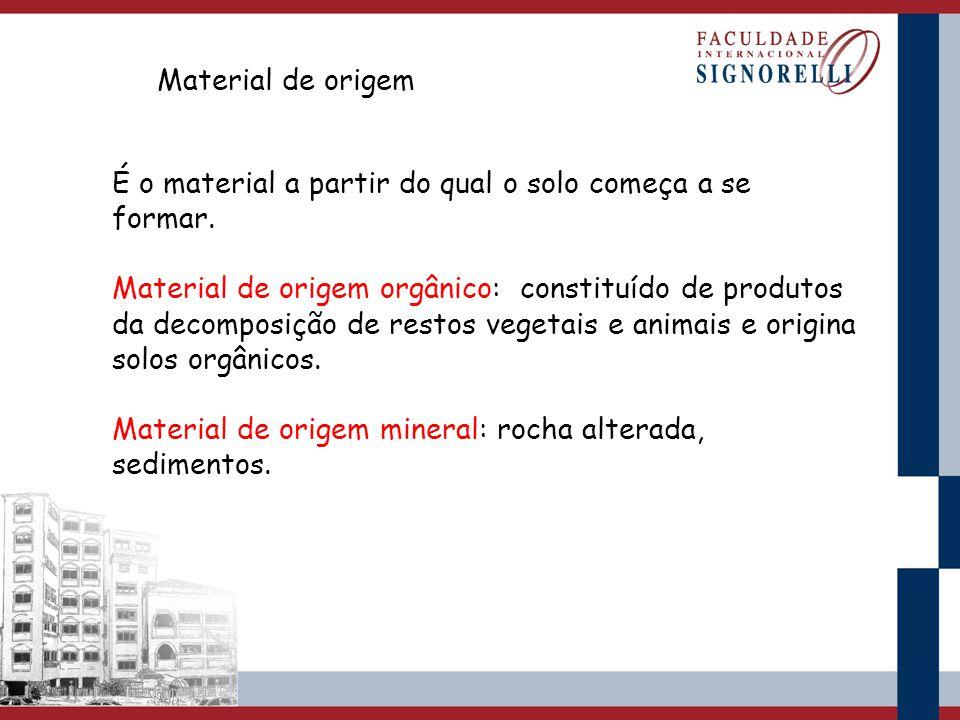 Material de origem É o material a partir do qual o solo começa a se formar.