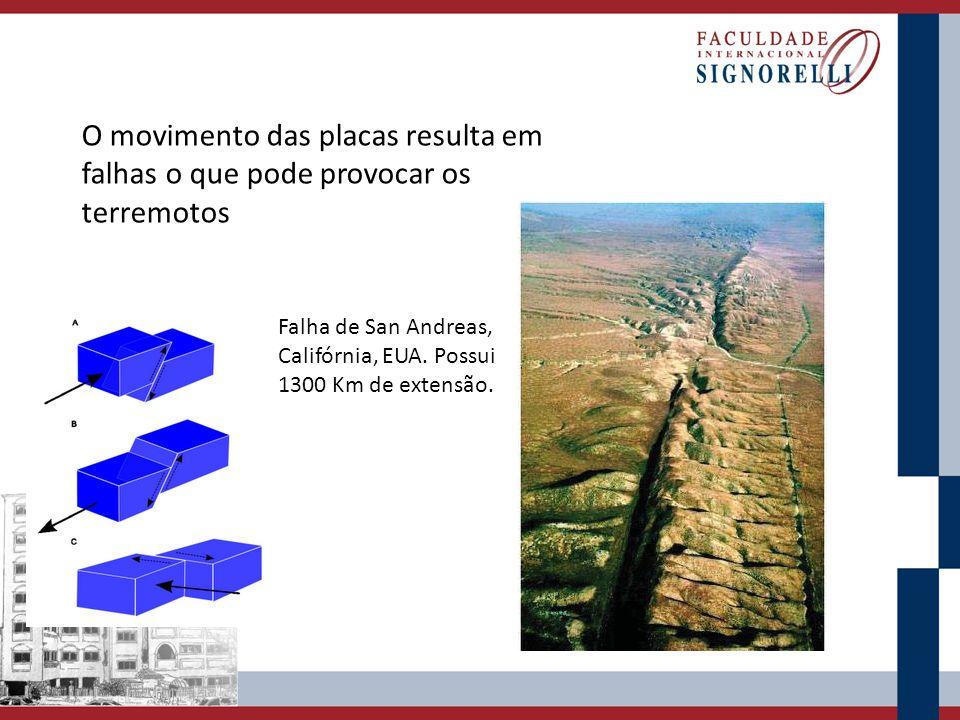 O movimento das placas resulta em falhas o que pode provocar os terremotos