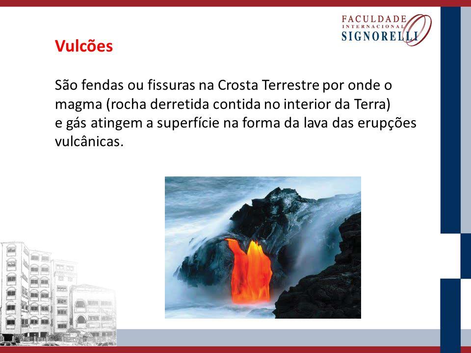 Vulcões São fendas ou fissuras na Crosta Terrestre por onde o magma (rocha derretida contida no interior da Terra)