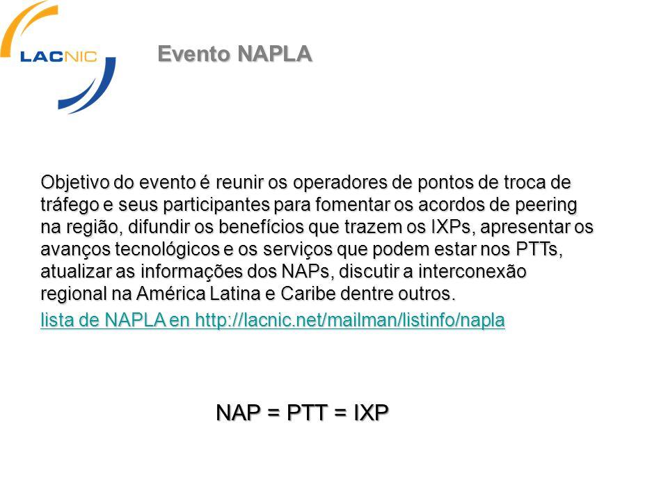 Evento NAPLA NAP = PTT = IXP
