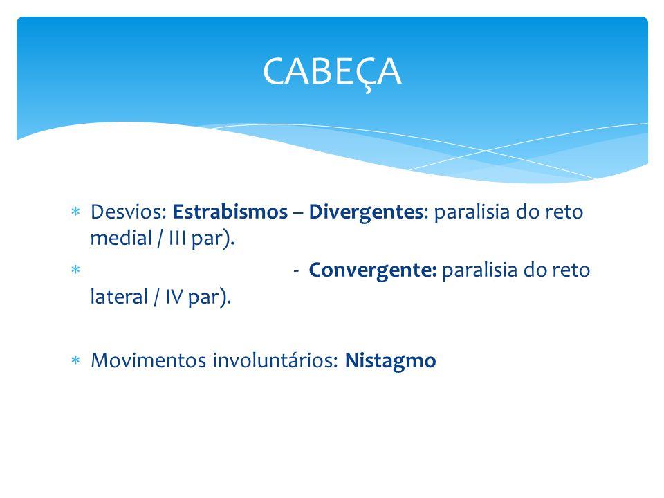CABEÇA Desvios: Estrabismos – Divergentes: paralisia do reto medial / III par). - Convergente: paralisia do reto lateral / IV par).