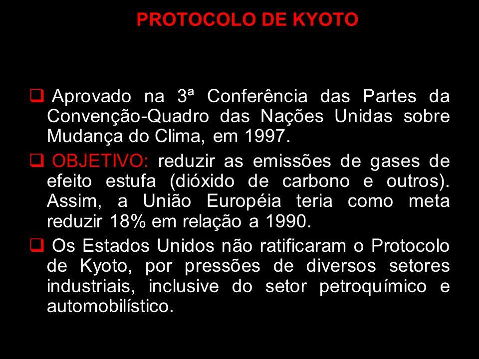 PROTOCOLO DE KYOTO Aprovado na 3ª Conferência das Partes da Convenção-Quadro das Nações Unidas sobre Mudança do Clima, em 1997.