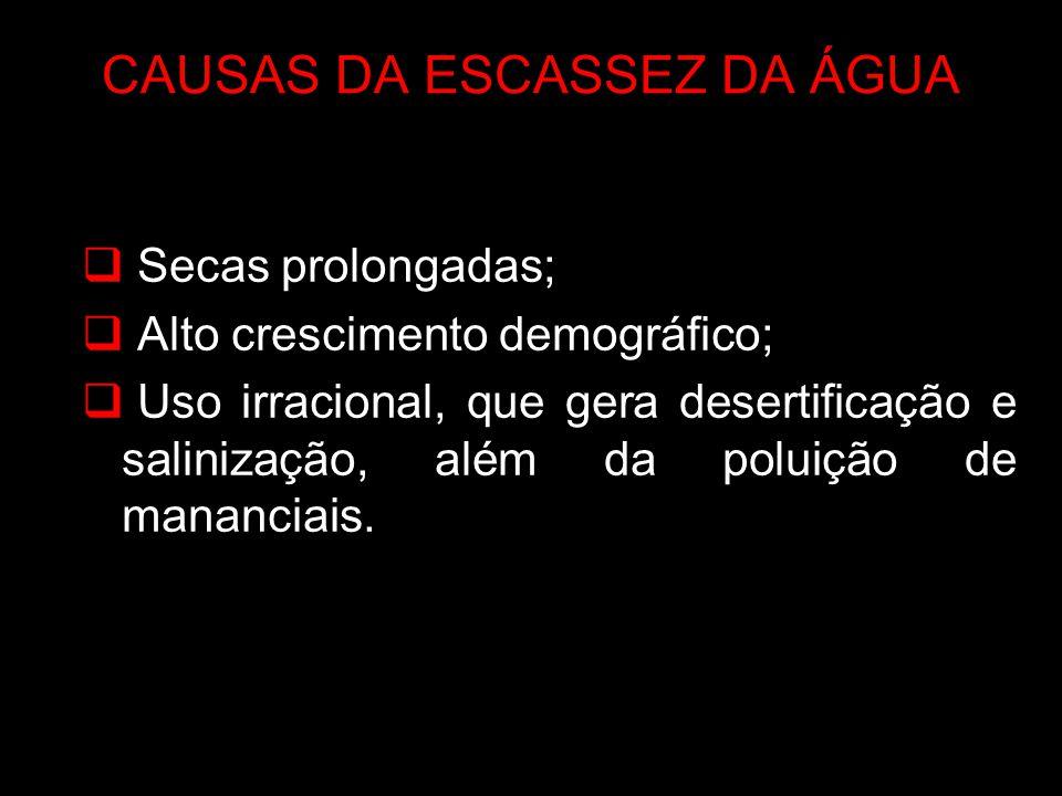 CAUSAS DA ESCASSEZ DA ÁGUA