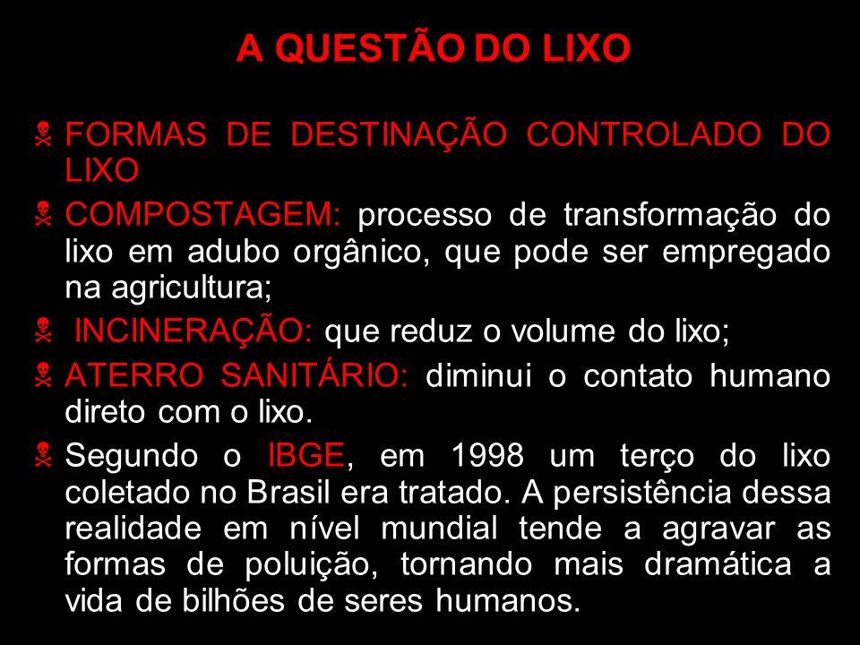 A QUESTÃO DO LIXO FORMAS DE DESTINAÇÃO CONTROLADO DO LIXO
