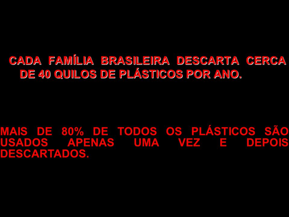 CADA FAMÍLIA BRASILEIRA DESCARTA CERCA DE 40 QUILOS DE PLÁSTICOS POR ANO.