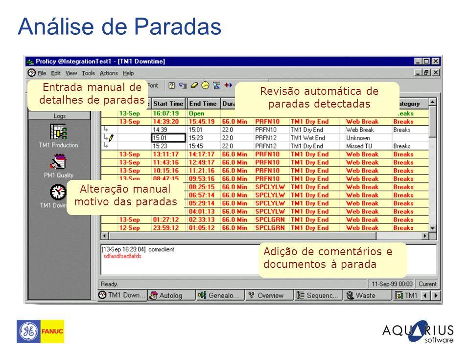 Análise de Paradas Entrada manual de detalhes de paradas