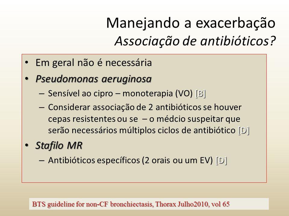 Manejando a exacerbação Associação de antibióticos