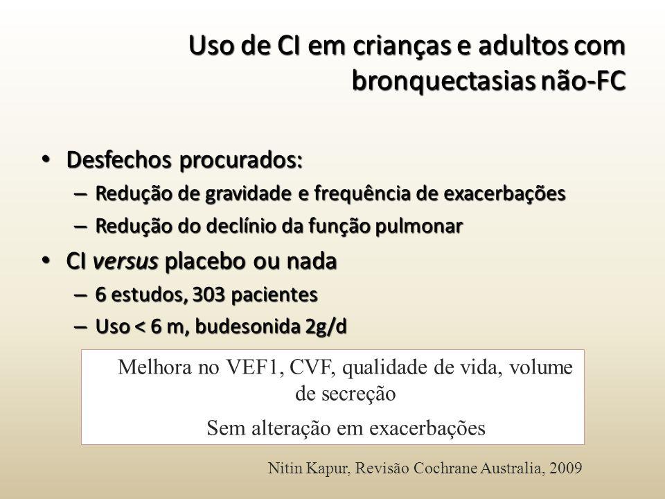 Uso de CI em crianças e adultos com bronquectasias não-FC
