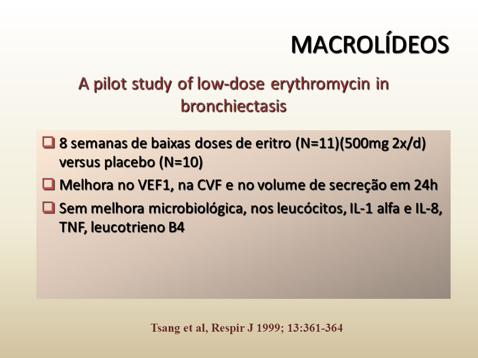 A pilot study of low-dose erythromycin in bronchiectasis