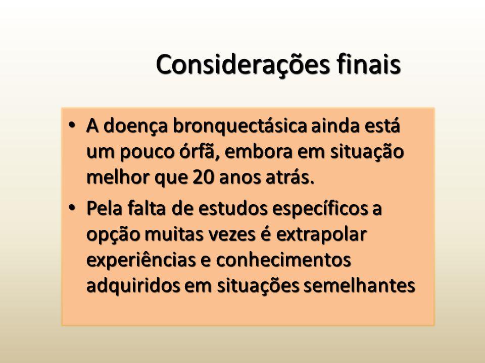 Considerações finais A doença bronquectásica ainda está um pouco órfã, embora em situação melhor que 20 anos atrás.