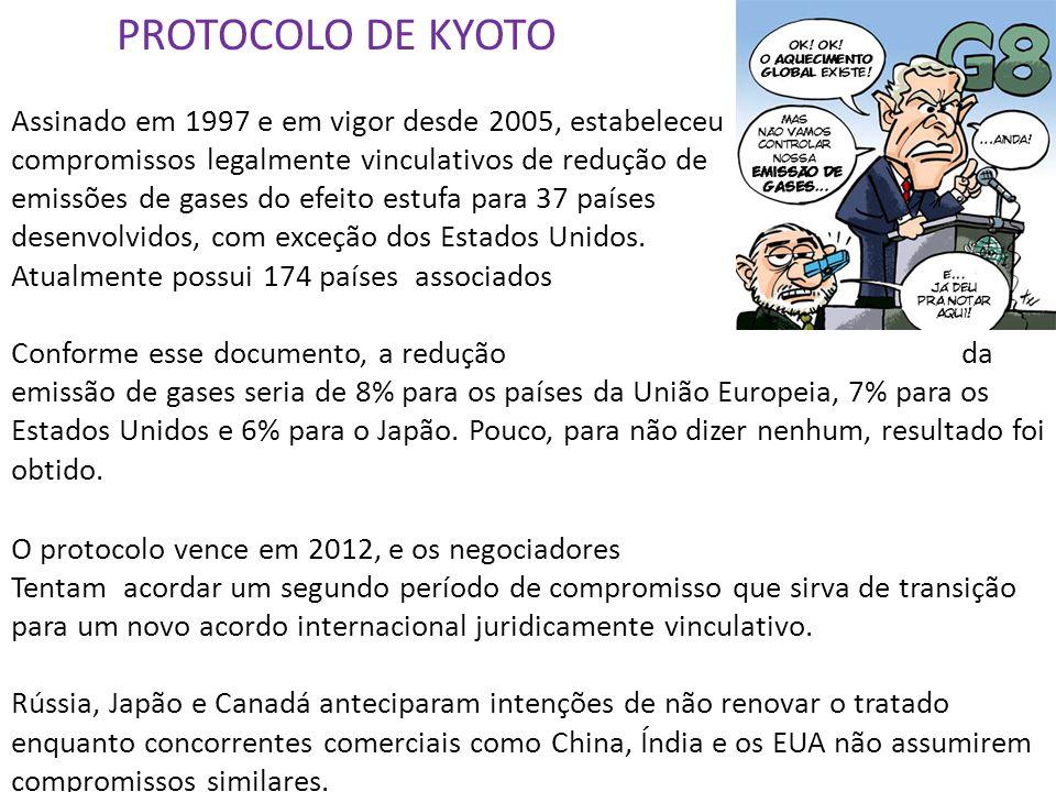 PROTOCOLO DE KYOTO Assinado em 1997 e em vigor desde 2005, estabeleceu