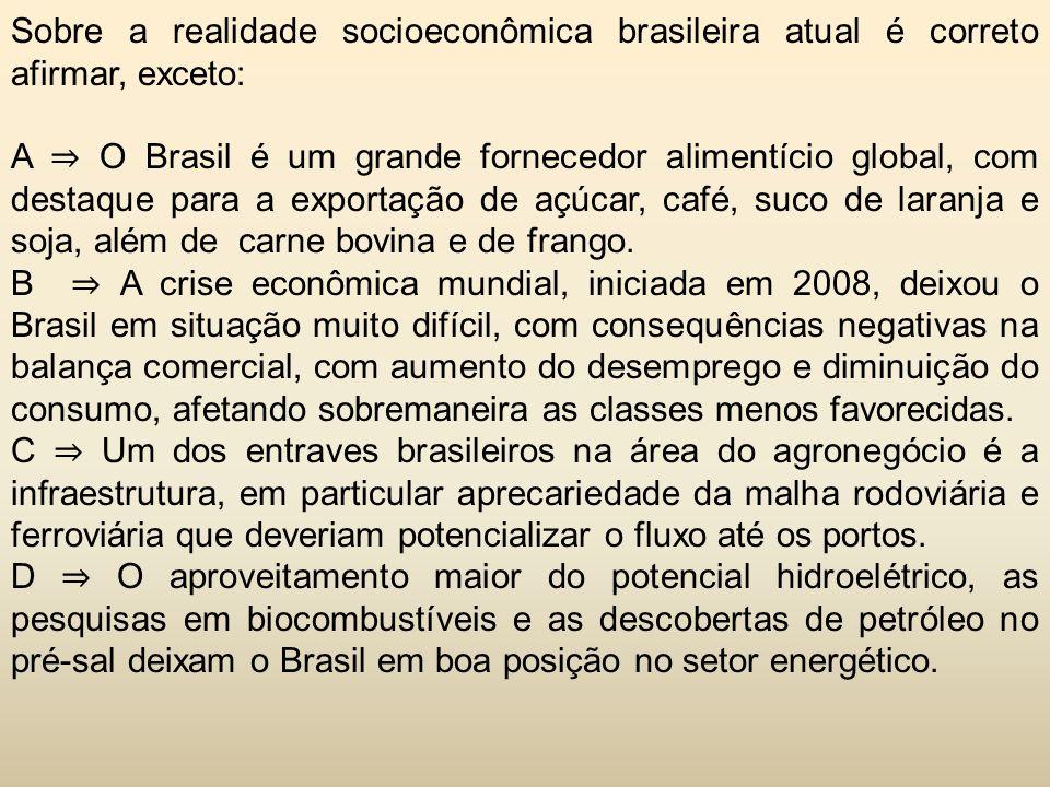 Sobre a realidade socioeconômica brasileira atual é correto afirmar, exceto: