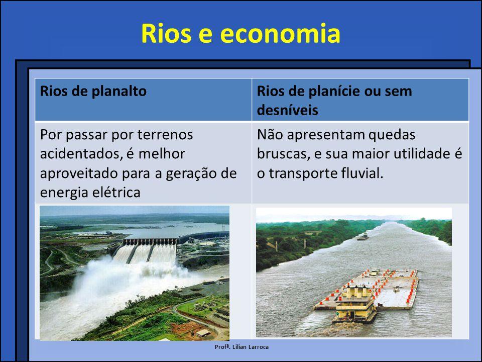 Rios e economia Rios de planalto Rios de planície ou sem desníveis