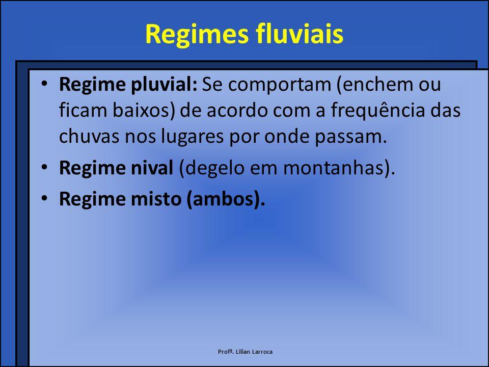 Regimes fluviais Regime pluvial: Se comportam (enchem ou ficam baixos) de acordo com a frequência das chuvas nos lugares por onde passam.