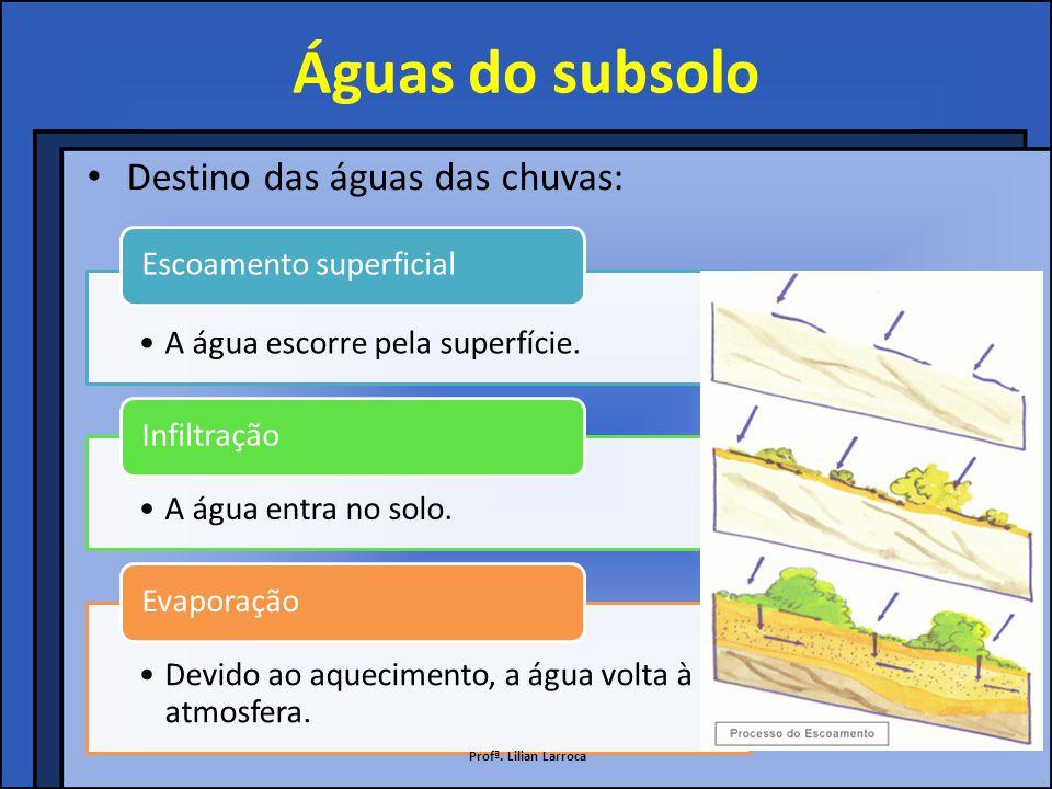 Águas do subsolo Destino das águas das chuvas: Escoamento superficial