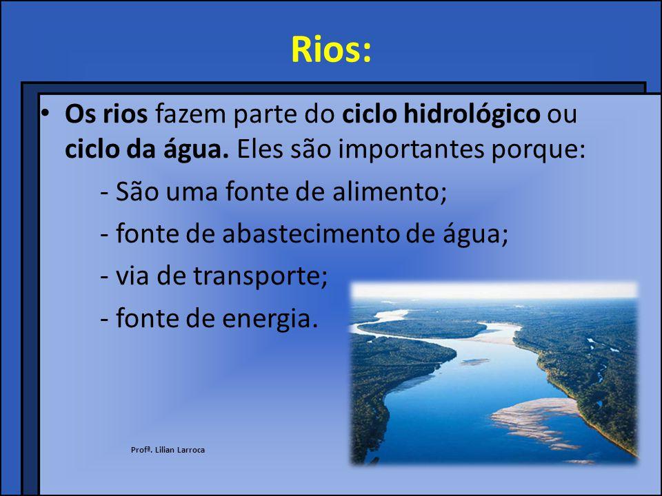 Rios: Os rios fazem parte do ciclo hidrológico ou ciclo da água. Eles são importantes porque: - São uma fonte de alimento;