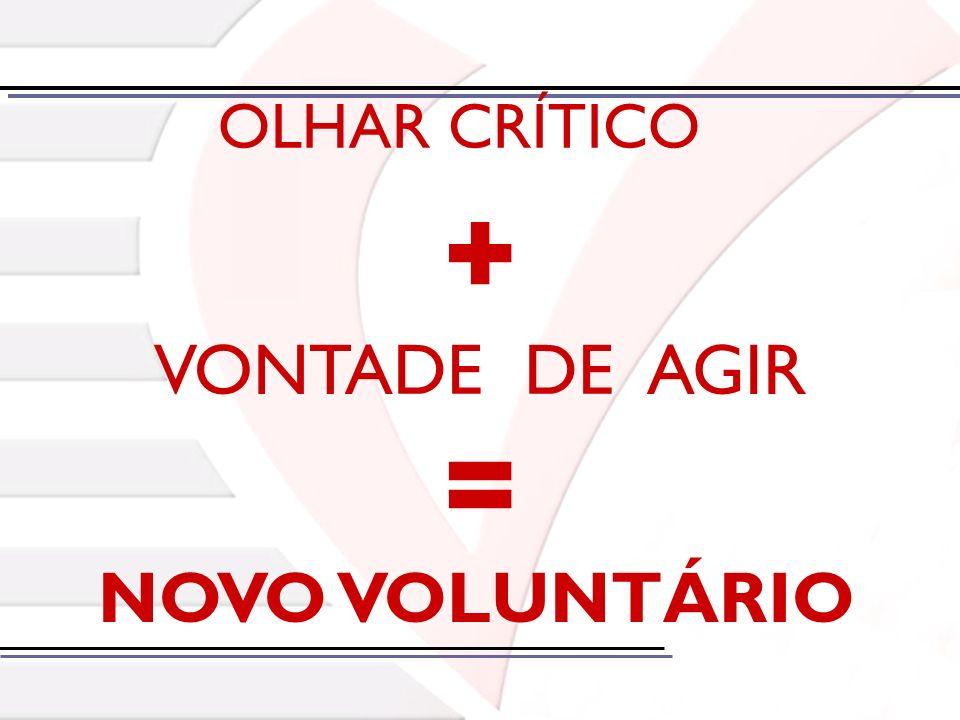 + = VONTADE DE AGIR NOVO VOLUNTÁRIO OLHAR CRÍTICO