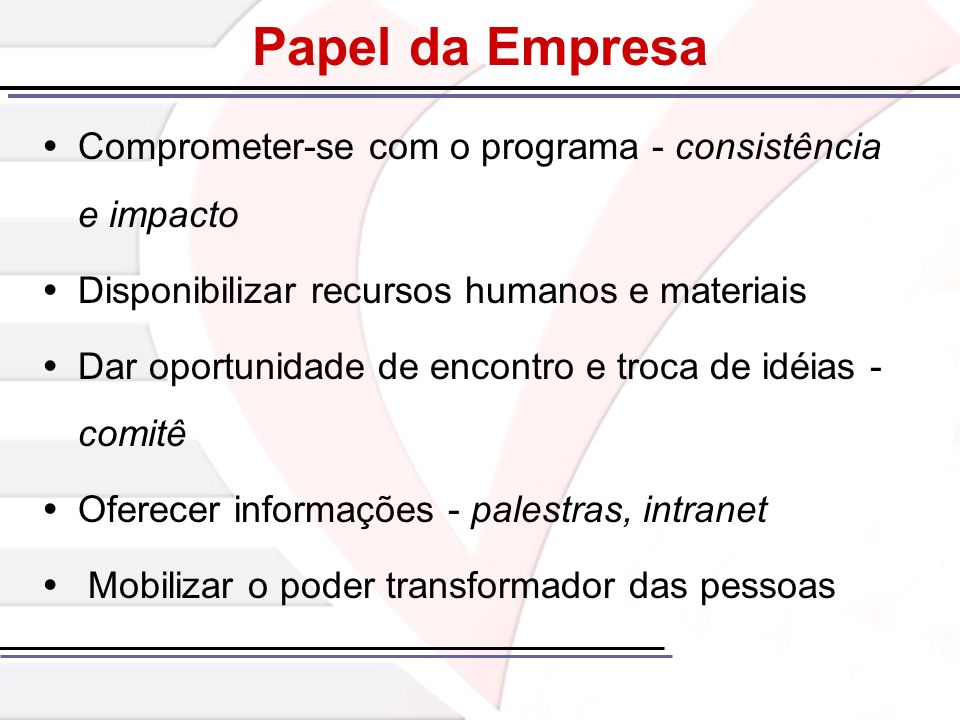 Papel da Empresa Comprometer-se com o programa - consistência e impacto. Disponibilizar recursos humanos e materiais.