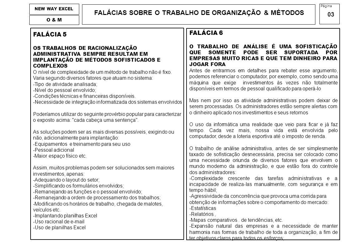 FALÁCIAS SOBRE O TRABALHO DE ORGANIZAÇÃO & MÉTODOS