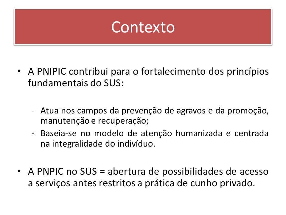 Contexto A PNIPIC contribui para o fortalecimento dos princípios fundamentais do SUS: