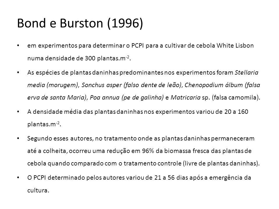 Bond e Burston (1996) em experimentos para determinar o PCPI para a cultivar de cebola White Lisbon numa densidade de 300 plantas.m-2.