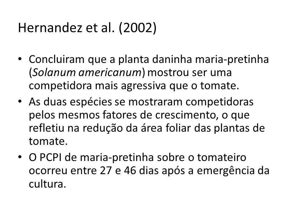 Hernandez et al. (2002) Concluiram que a planta daninha maria-pretinha (Solanum americanum) mostrou ser uma competidora mais agressiva que o tomate.