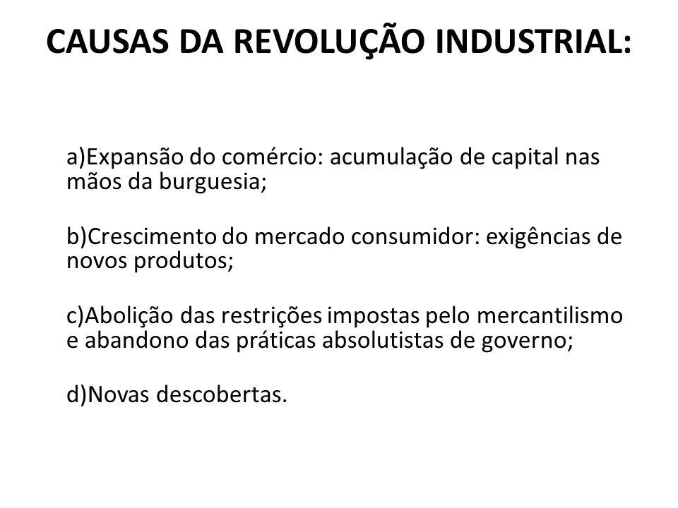 CAUSAS DA REVOLUÇÃO INDUSTRIAL: