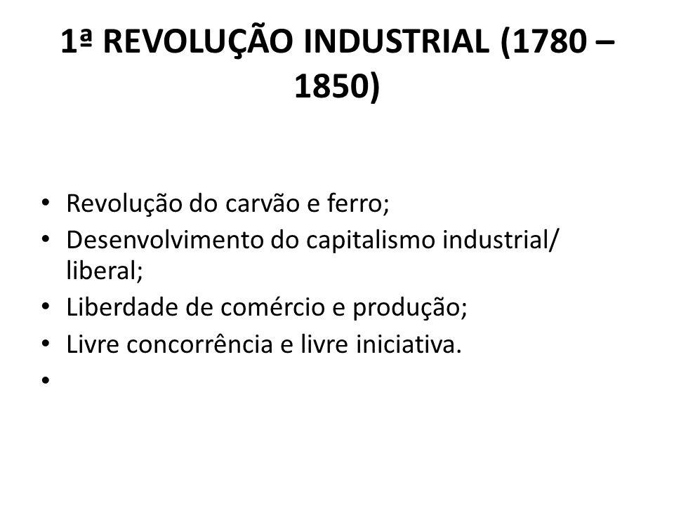 1ª REVOLUÇÃO INDUSTRIAL (1780 – 1850)