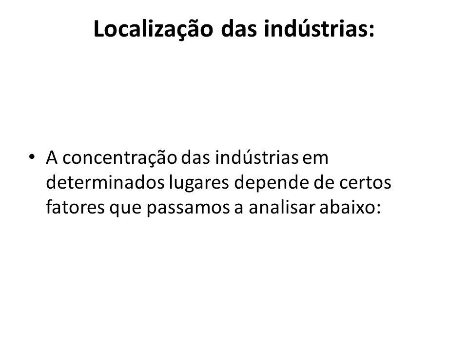 Localização das indústrias: