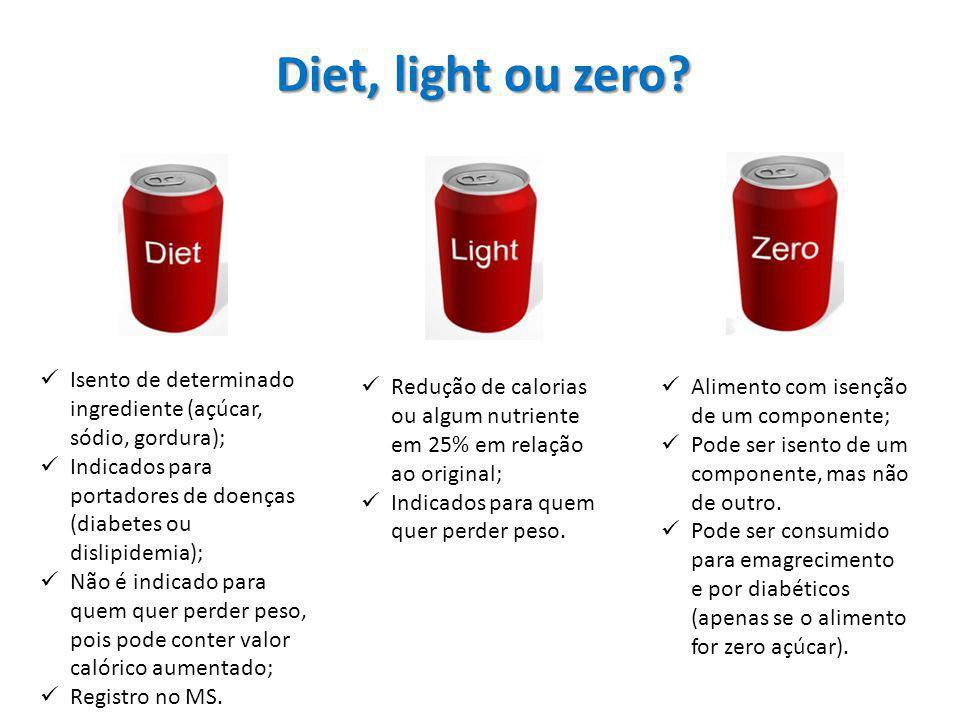Diet, light ou zero Isento de determinado ingrediente (açúcar, sódio, gordura); Indicados para portadores de doenças (diabetes ou dislipidemia);