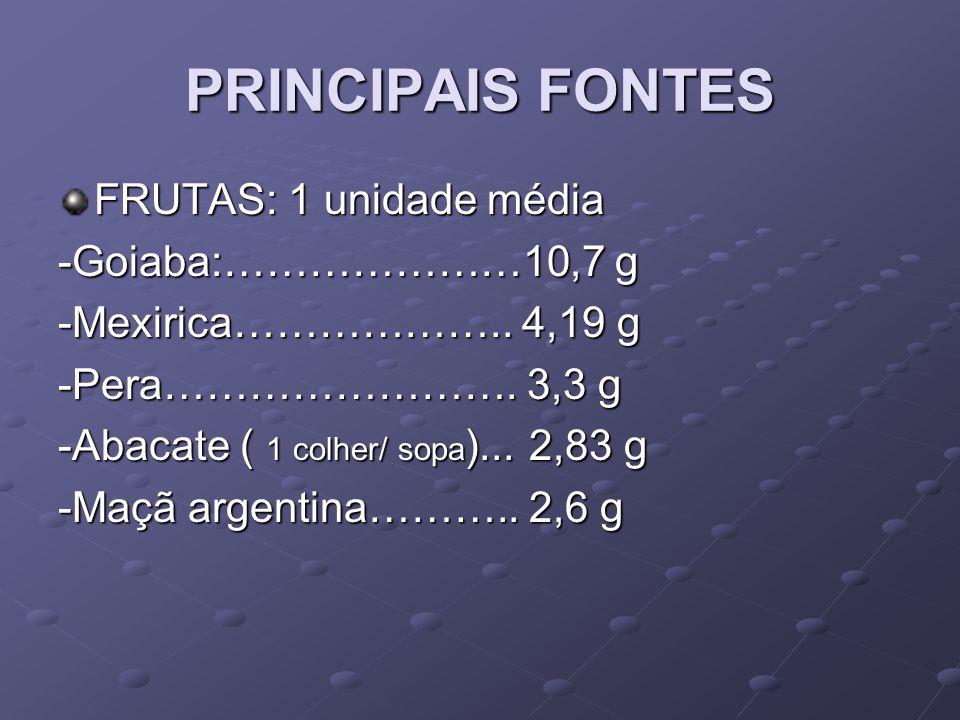 PRINCIPAIS FONTES FRUTAS: 1 unidade média -Goiaba:…………………10,7 g
