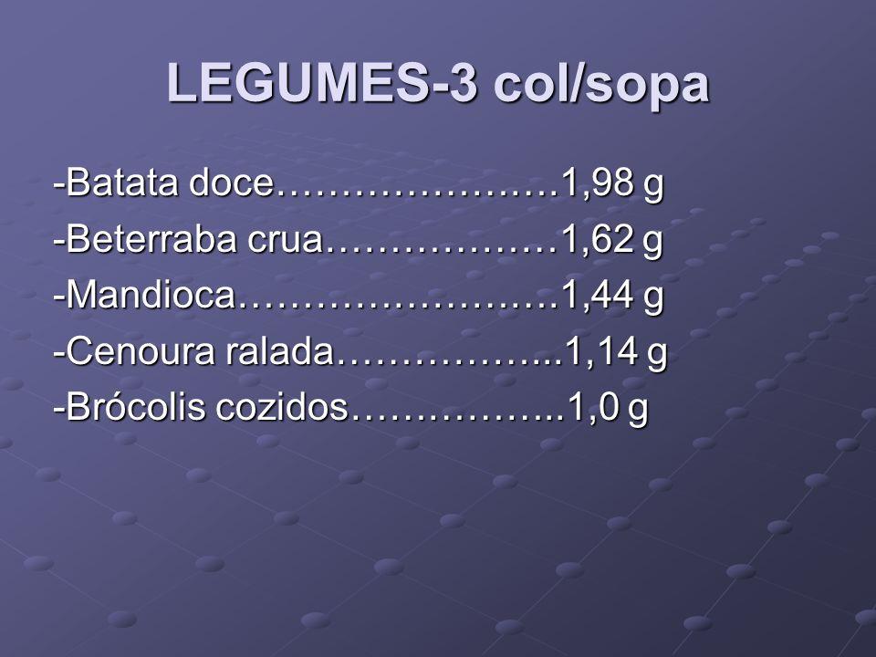 LEGUMES-3 col/sopa -Batata doce………………….1,98 g