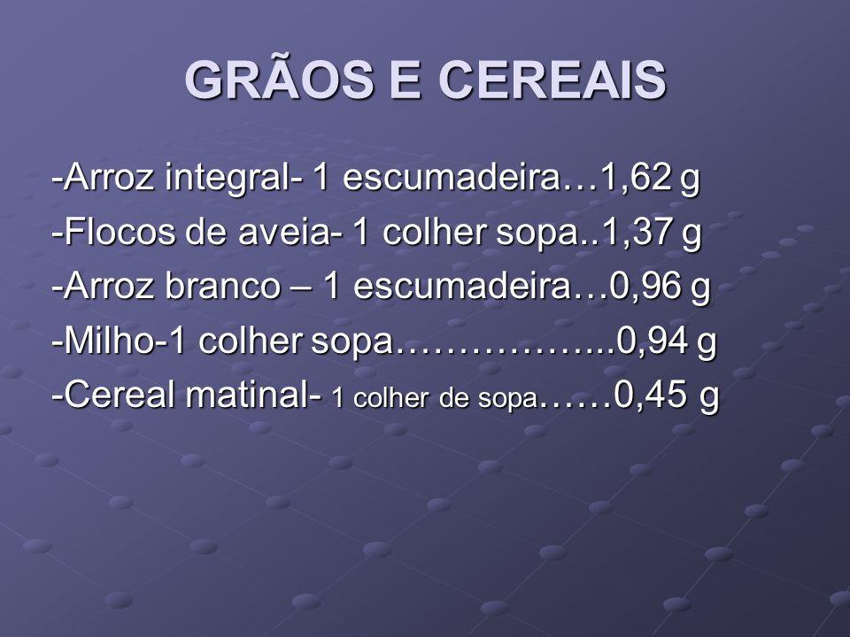 GRÃOS E CEREAIS -Arroz integral- 1 escumadeira…1,62 g