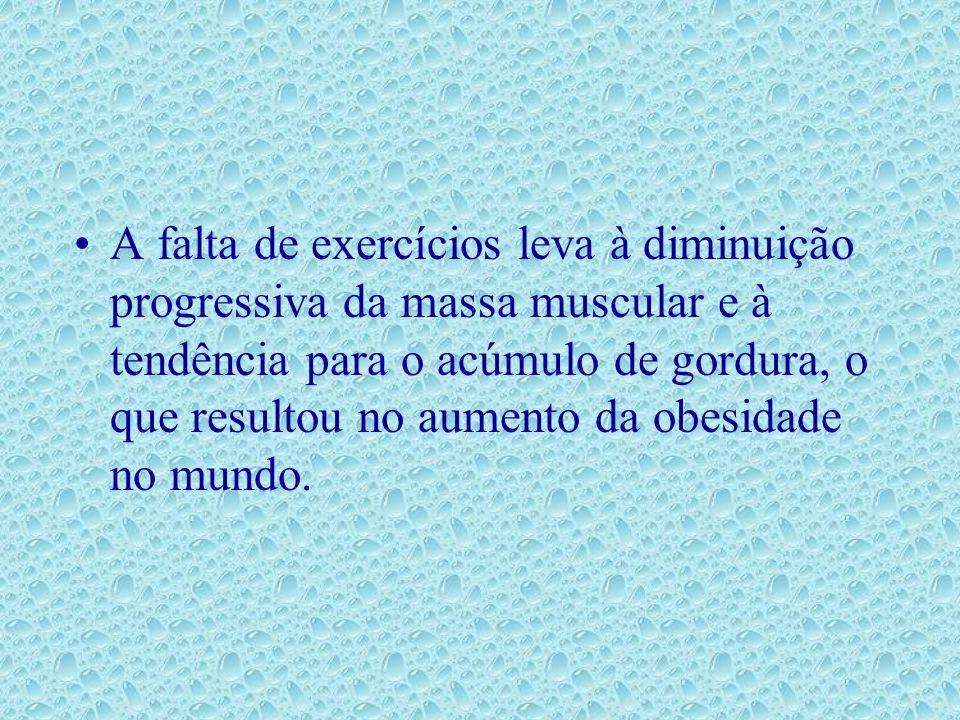 A falta de exercícios leva à diminuição progressiva da massa muscular e à tendência para o acúmulo de gordura, o que resultou no aumento da obesidade no mundo.