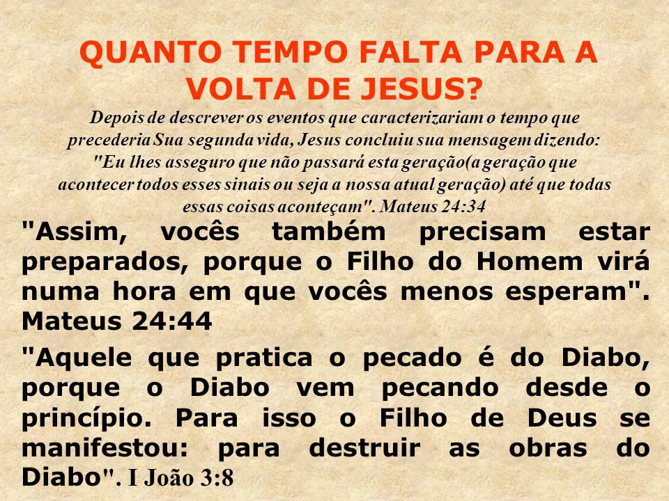 QUANTO TEMPO FALTA PARA A VOLTA DE JESUS